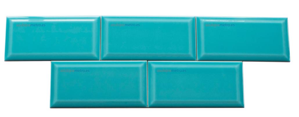 Azulejo turquesa 10x20 brillo biselado